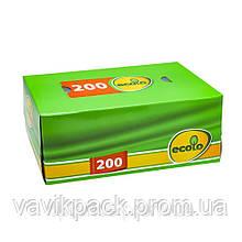 Салфетки косметические Ecolo 2 слоя 200 листов в коробке