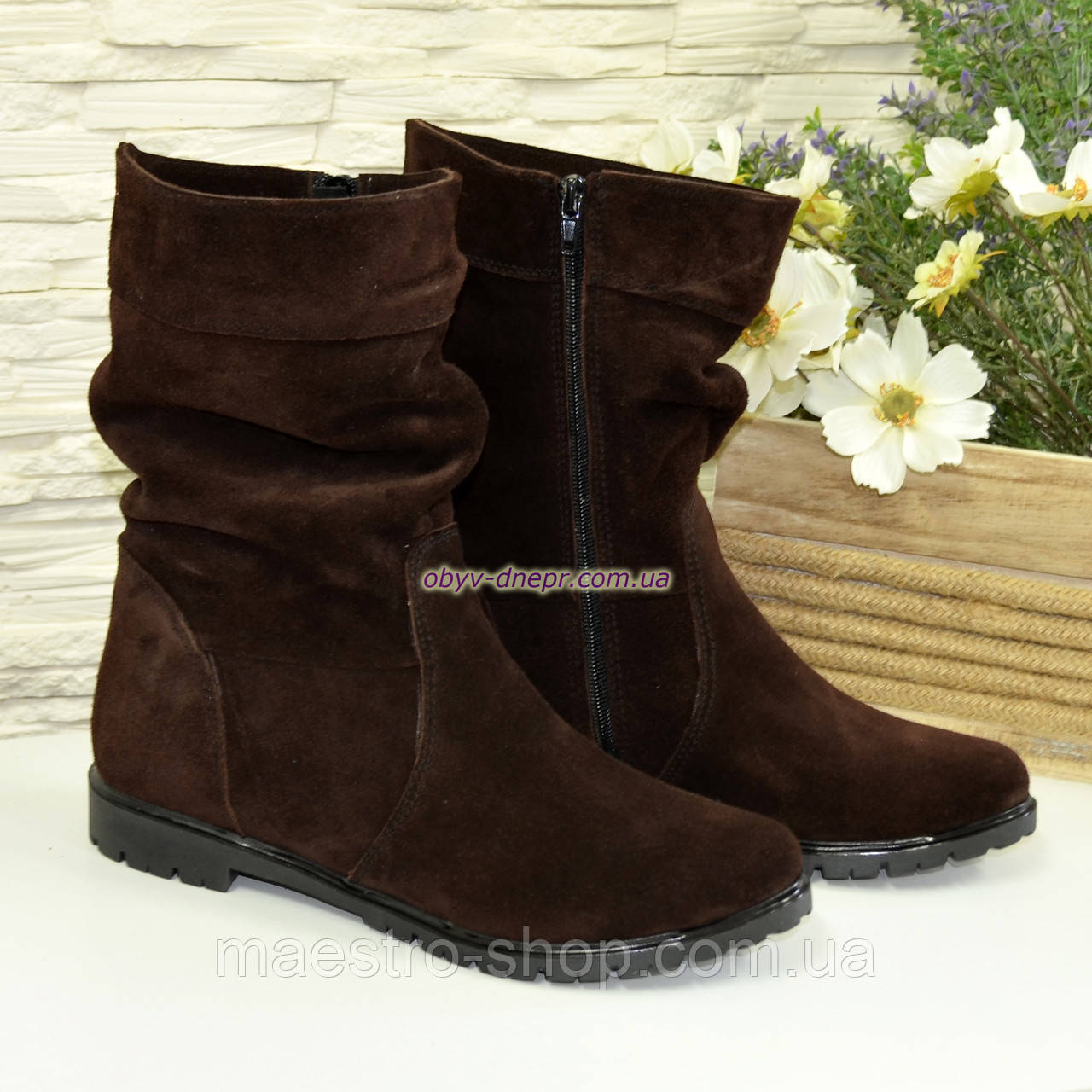 """Жіночі демісезонні коричневі замшеві черевики. ТМ """"Maestro"""""""