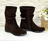 """Жіночі демісезонні коричневі замшеві черевики. ТМ """"Maestro"""", фото 3"""