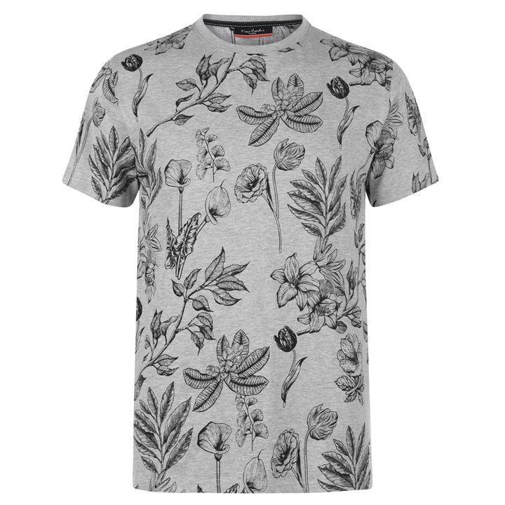 Молодежная серая футболка в цветочек Pierre Cardin Leaf AOP оригинал 48 размер