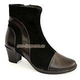 Женские демисезонные ботинки на невысоком устойчивом каблуке, натуральная кожа и замша, фото 2