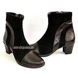 Женские демисезонные ботинки на невысоком устойчивом каблуке, натуральная кожа и замша, фото 5