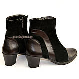 Женские демисезонные ботинки на невысоком устойчивом каблуке, натуральная кожа и замша, фото 6
