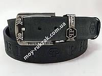 Ремень мужской кожаный PHILIPP PLEIN ширина 40 мм., реплика 930601