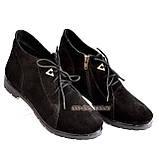 Жіночі замшеві демісезонні черевики на шнурівці, фото 5