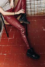 Женские брюки из экокожи на трикотажной основе , фото 2