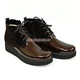 Женские демисезонные полуботинки на шнуровке, натуральный коричневый замш и лак., фото 2
