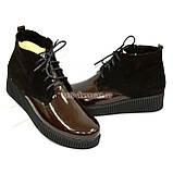 Женские демисезонные полуботинки на шнуровке, натуральный коричневый замш и лак., фото 3