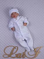 """Нарядный человечек с шапочкой """"Принц"""" на выписку из роддома для мальчика. Белоснежный"""