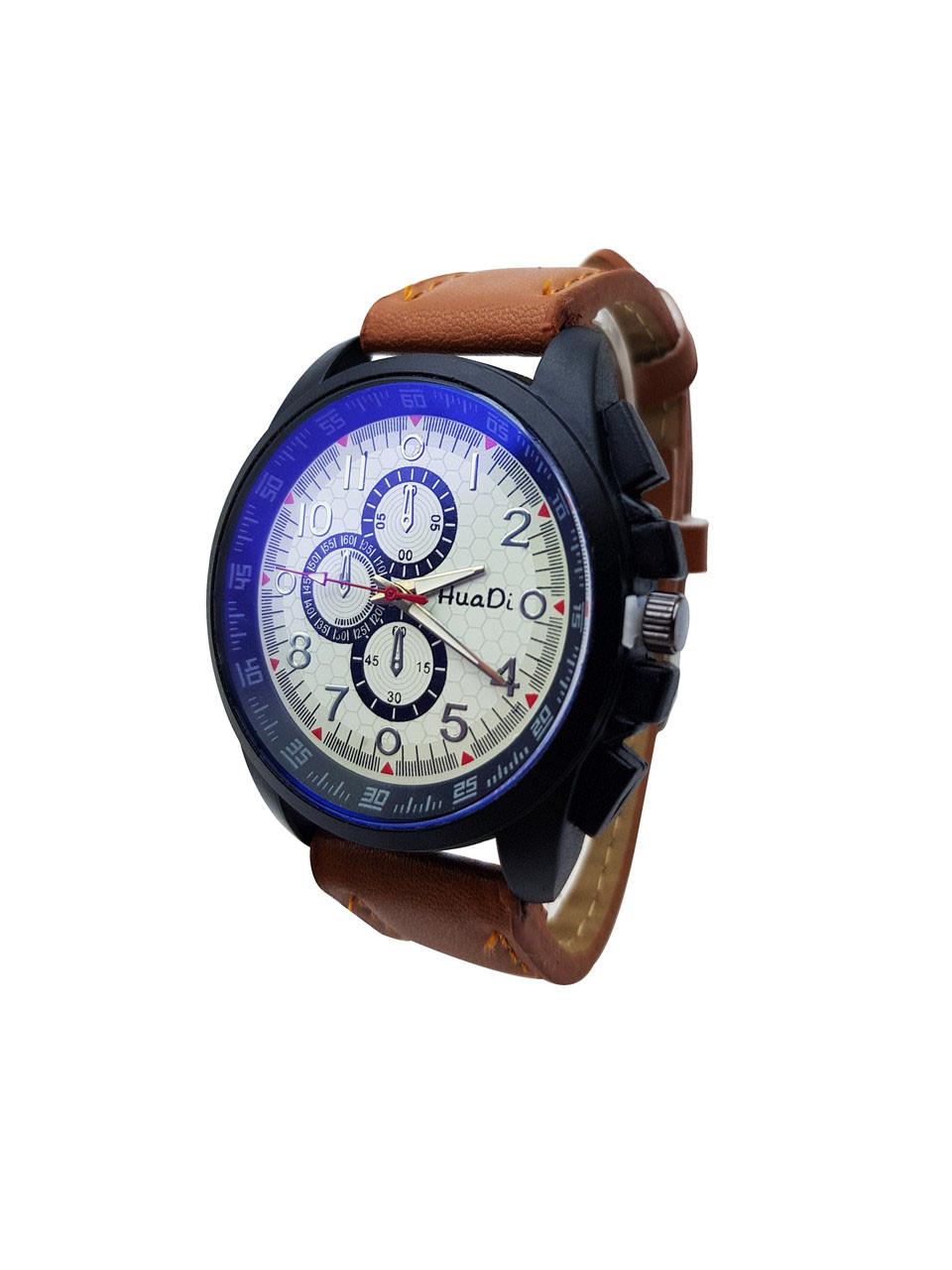 a4131b37cb58 Часы наручные мужские стильные кварцевые HuaDi, Коричневый цвет, Белый  циферблат, ...