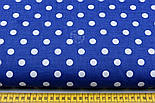 Ткань с белым горошком 1 см на синем фоне (№ 125а)., фото 2