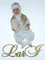 """Роскошный подарочный набор на выписку """"Джентльмен"""" - человечек с жилетом и шапочка, фото 1"""