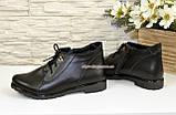 Женские кожаные демисезонные полуботинки на шнуровке, фото 4