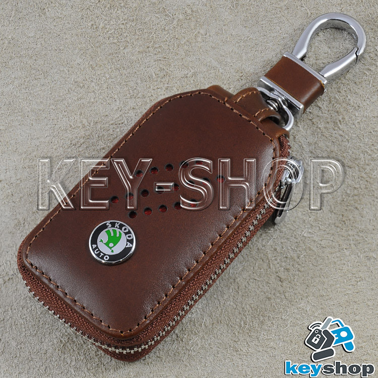Ключниця кишенькова (шкіряна, біла, на блискавці, з карабіном, кільцем), логотип авто Skoda (Шкода)