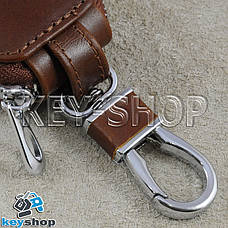 Ключниця кишенькова (шкіряна, біла, на блискавці, з карабіном, кільцем), логотип авто Skoda (Шкода), фото 2