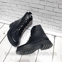 Ботинки-берцы короткие зимние натуральная кожа черные на шнуровке и утолщенной подошве Код 1944, фото 3