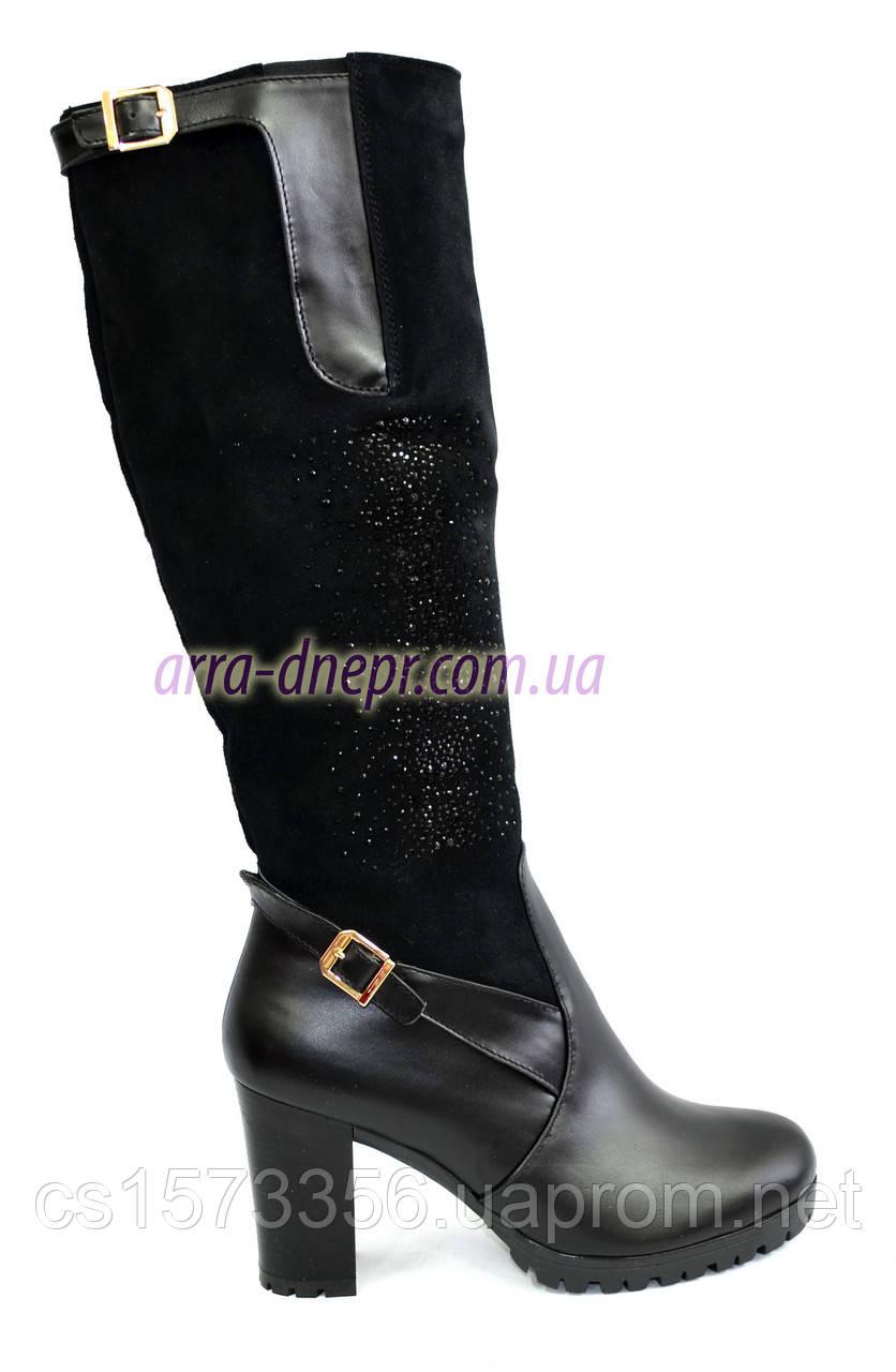 027934759 Женские высокие стильные сапоги, натуральный замш+кожа+камни, демисезонные  - Stivale -