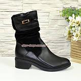 Женские демисезонные ботинки на невысоком каблуке, натуральная кожа и замш, фото 2