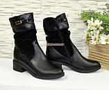 Женские демисезонные ботинки на невысоком каблуке, натуральная кожа и замш, фото 4