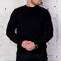 Мужской зимний Свитшот теплый с флисом черный с манжетами, фото 1