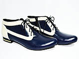 Туфли кожаные женские осенние на шнуровке бежево-синие, фото 2