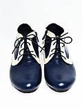 Туфли кожаные женские осенние на шнуровке бежево-синие, фото 3