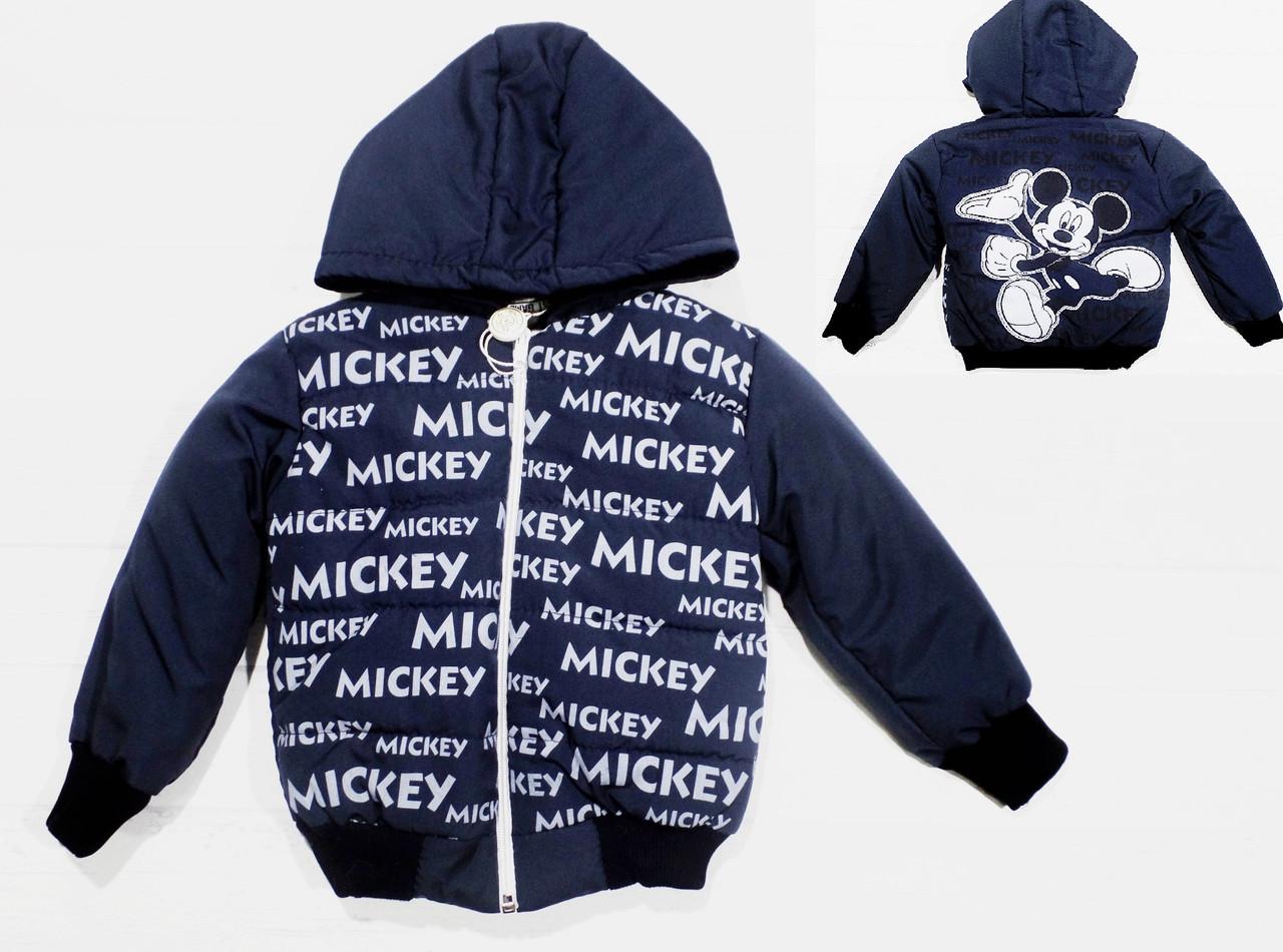 """Детская куртка на синтепоне с флисовой подкладкой """" Микки """" 1,2,3 года."""