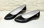 Женские кожаные туфли-балетки с заостренным носком., фото 3