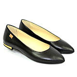 Женские кожаные туфли-балетки с заостренным носком., фото 8