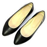 Женские кожаные туфли-балетки с заостренным носком., фото 9