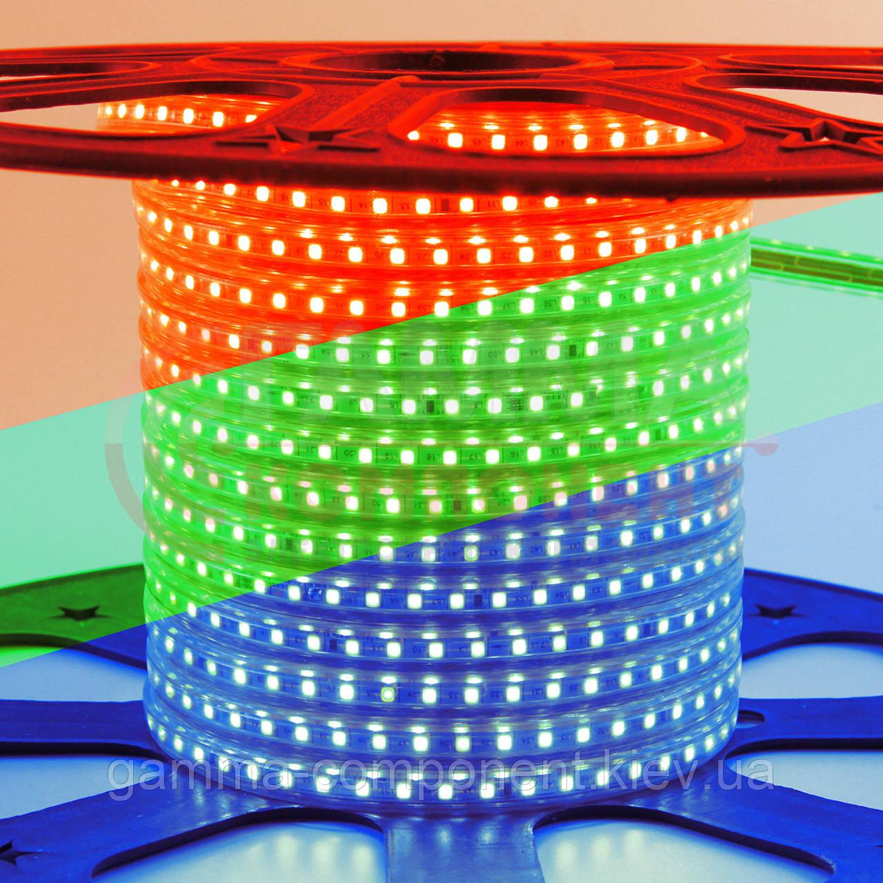 Светодиодная лента 220В RGB AVT smd 5050-60 лед/м 10 Вт/м, герметичная. Бухта 50 метров.