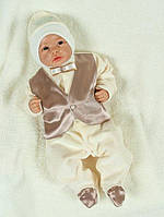 """Роскошный набор """"Джентльмен"""" на выписку для мальчика - человечек с жилетом и шапочка, фото 1"""