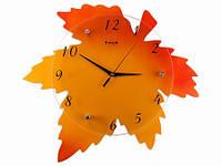 Часы Настенные Фигурные (42х40х5 см) Дерево. De Feuille D'erable. Кленовый Лист. Оранжевые