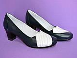 """Туфли синие кожаные женские с белыми вставками на каблуке. ТМ """"Maestro"""", фото 2"""