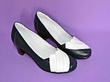 """Туфли синие кожаные женские с белыми вставками на каблуке. ТМ """"Maestro"""", фото 4"""