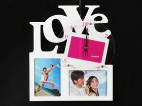 Часы Настенные Фигурные (40х35х5 см) Дерево. Famille Amour 2. Семейные LOVE. Белый