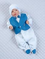 """Роскошный набор """"Джентльмен"""" на выписку для мальчика - человечек с жилетом и шапочка"""