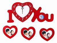 Часы Настенные Фигурные (60х26х5 см) Дерево. Famille Je t'aime 4. Семейные I Love You. Красные