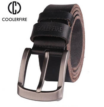 Ремень мужской кожаный COOLERFIRE из цельного куска натуральной кожи  (черный)