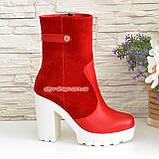 Жіночі червоні демісезонні черевики на підборах., фото 2