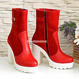 Жіночі червоні демісезонні черевики на підборах., фото 3