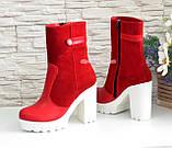 Жіночі червоні демісезонні черевики на підборах., фото 4