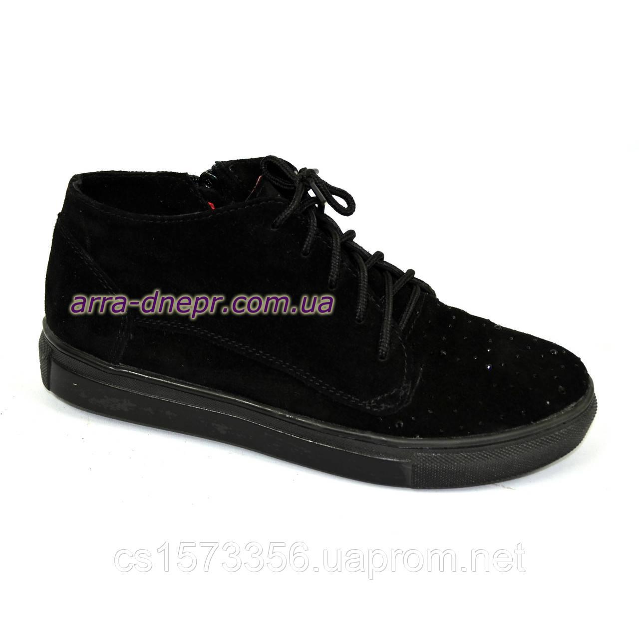 """Стильные женские ботинки из натуральной замши черного цвета, декорированы камнями.  ТМ """"Maestro"""""""