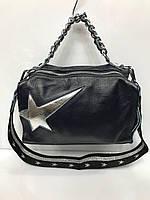 Женская кожаная маленькая сумка со звездой