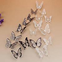 Бабочки Черные и Белые наклейки 3D 18 шт /уп.