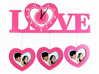 Часы Настенные Фигурные (48х22х4 см) Дерево. Famille Amour. Семейные LOVE. Розовые