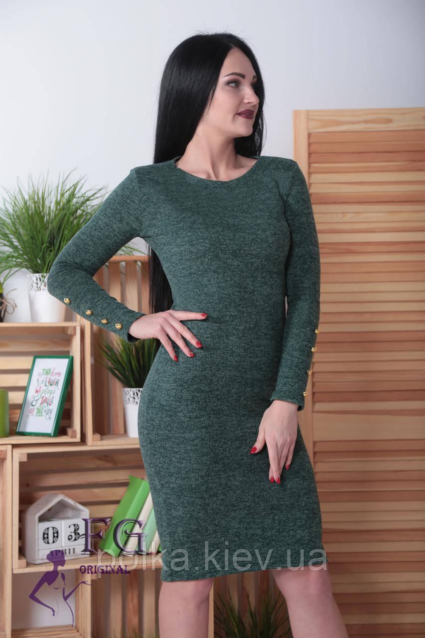"""Платье ангоровое  """"Перрис"""" с пуговицами на рукавах 48, темно-зеленый"""
