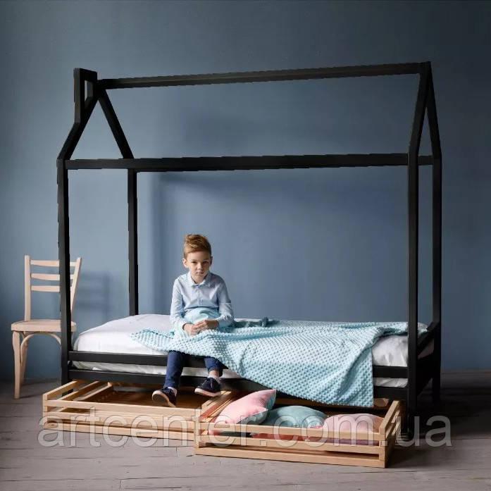 Кроватка-домик на ножках и с ящиками