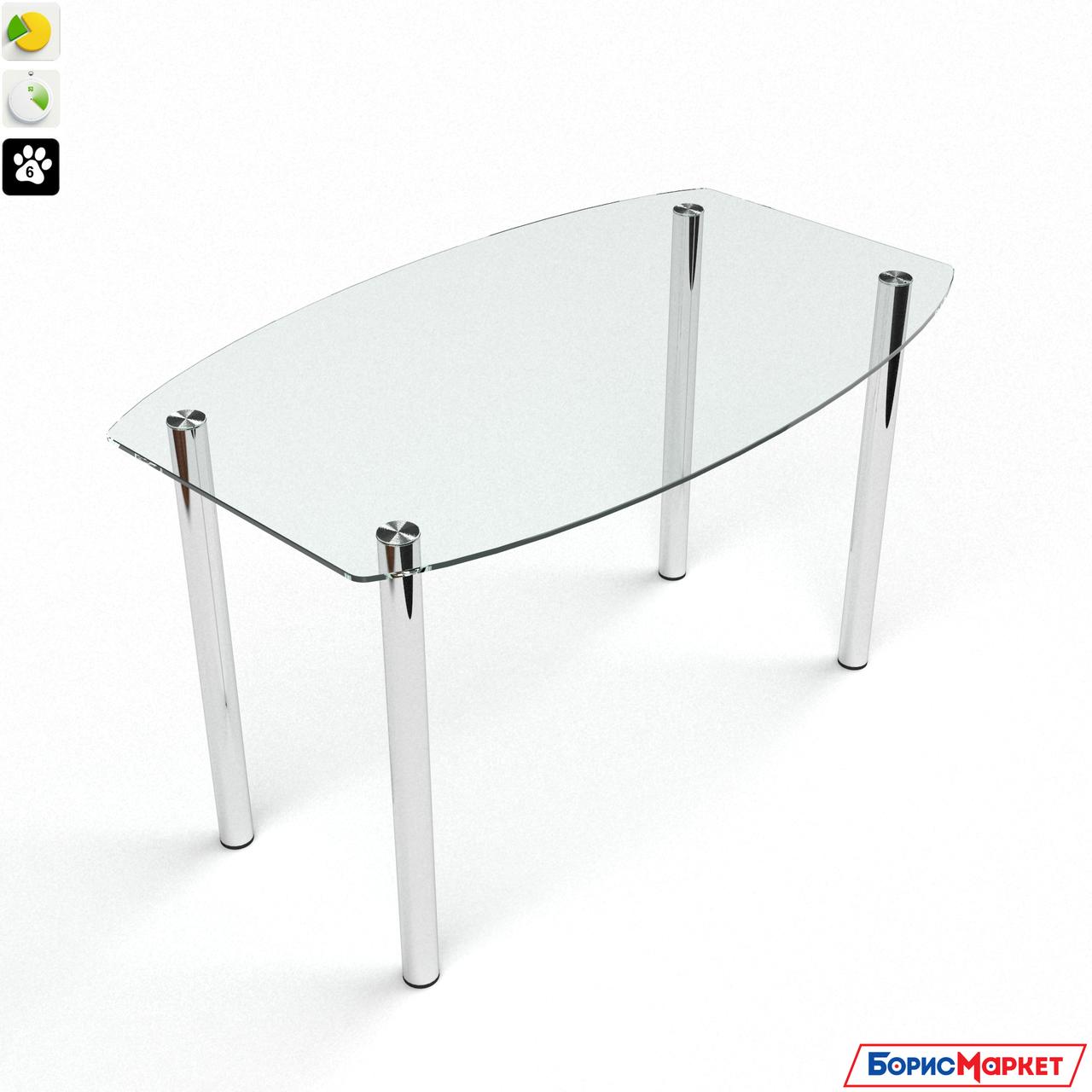 Обеденный стол стеклянный фигурный на хромированных ножках Бочка прозрачный от БЦ-Стол