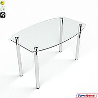 Обеденный стол стеклянный фигурный на хромированных ножках Бочка прозрачный от БЦ-Стол, фото 1